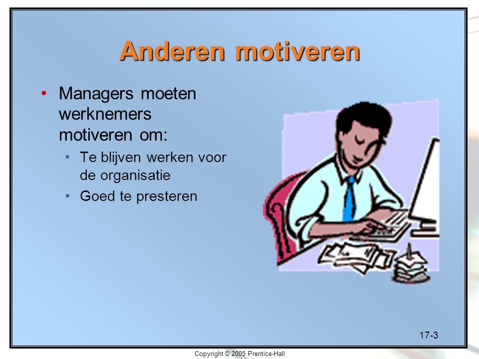17-3 Copyright © 2005 Prentice-Hall Anderen motiveren Managers moeten werknemers motiveren om: Te blijven werken voor de organisatie Goed te presteren