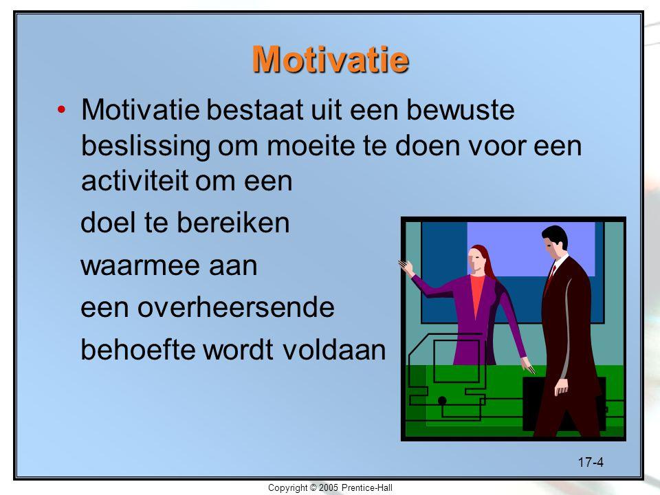 17-4 Copyright © 2005 Prentice-Hall Motivatie Motivatie bestaat uit een bewuste beslissing om moeite te doen voor een activiteit om een doel te bereiken waarmee aan een overheersende behoefte wordt voldaan