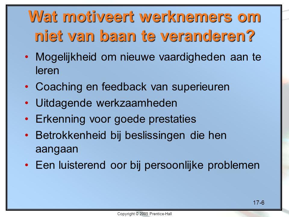 17-6 Copyright © 2005 Prentice-Hall Wat motiveert werknemers om niet van baan te veranderen? Mogelijkheid om nieuwe vaardigheden aan te leren Coaching