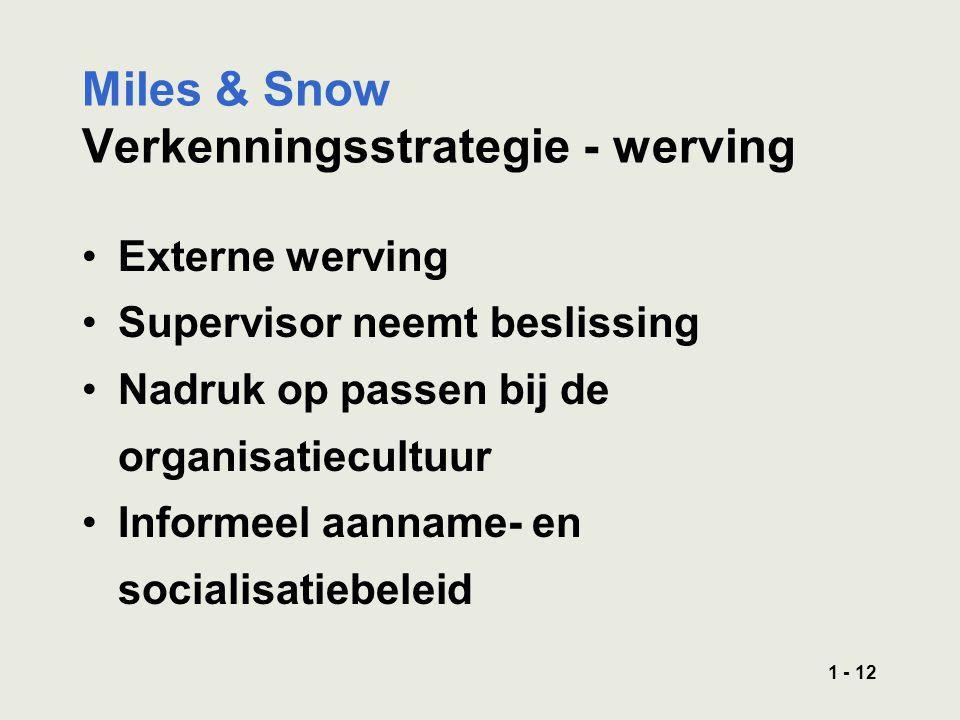 1 - 12 Miles & Snow Verkenningsstrategie - werving Externe werving Supervisor neemt beslissing Nadruk op passen bij de organisatiecultuur Informeel aanname- en socialisatiebeleid
