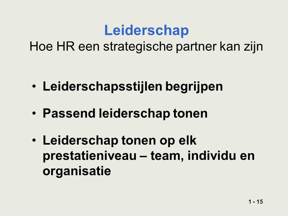 1 - 15 Leiderschap Hoe HR een strategische partner kan zijn Leiderschapsstijlen begrijpen Passend leiderschap tonen Leiderschap tonen op elk prestatieniveau – team, individu en organisatie