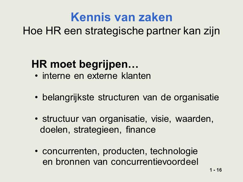 1 - 16 HR moet begrijpen… interne en externe klanten belangrijkste structuren van de organisatie structuur van organisatie, visie, waarden, doelen, strategieen, finance concurrenten, producten, technologie en bronnen van concurrentievoordeel Kennis van zaken Hoe HR een strategische partner kan zijn