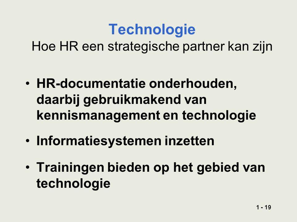 1 - 19 Technologie Hoe HR een strategische partner kan zijn HR-documentatie onderhouden, daarbij gebruikmakend van kennismanagement en technologie Informatiesystemen inzetten Trainingen bieden op het gebied van technologie