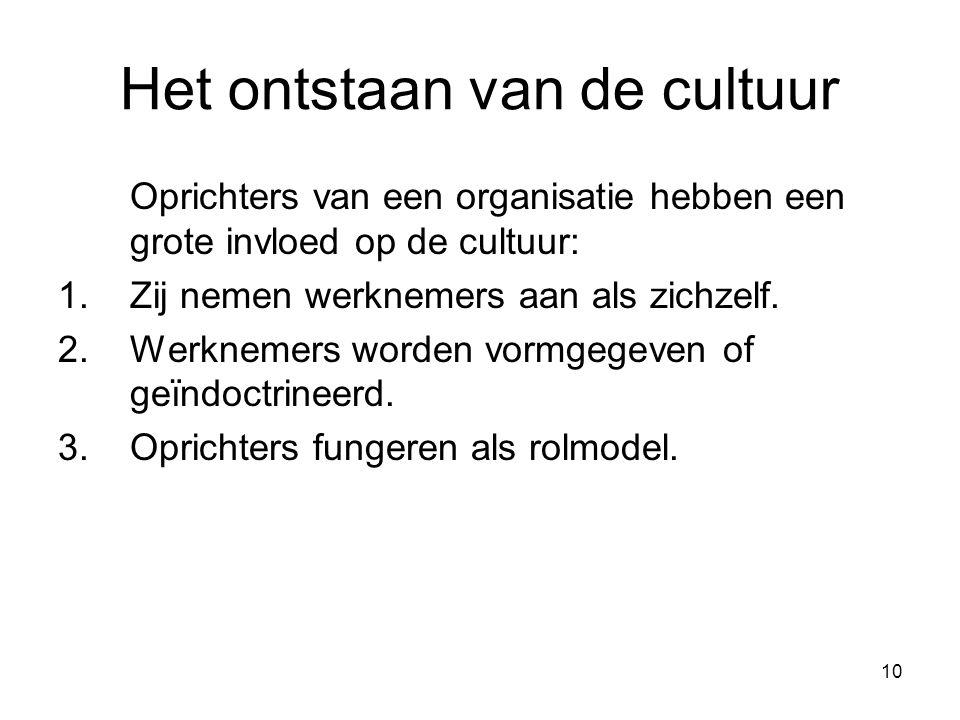 10 Het ontstaan van de cultuur Oprichters van een organisatie hebben een grote invloed op de cultuur: 1.Zij nemen werknemers aan als zichzelf. 2.Werkn