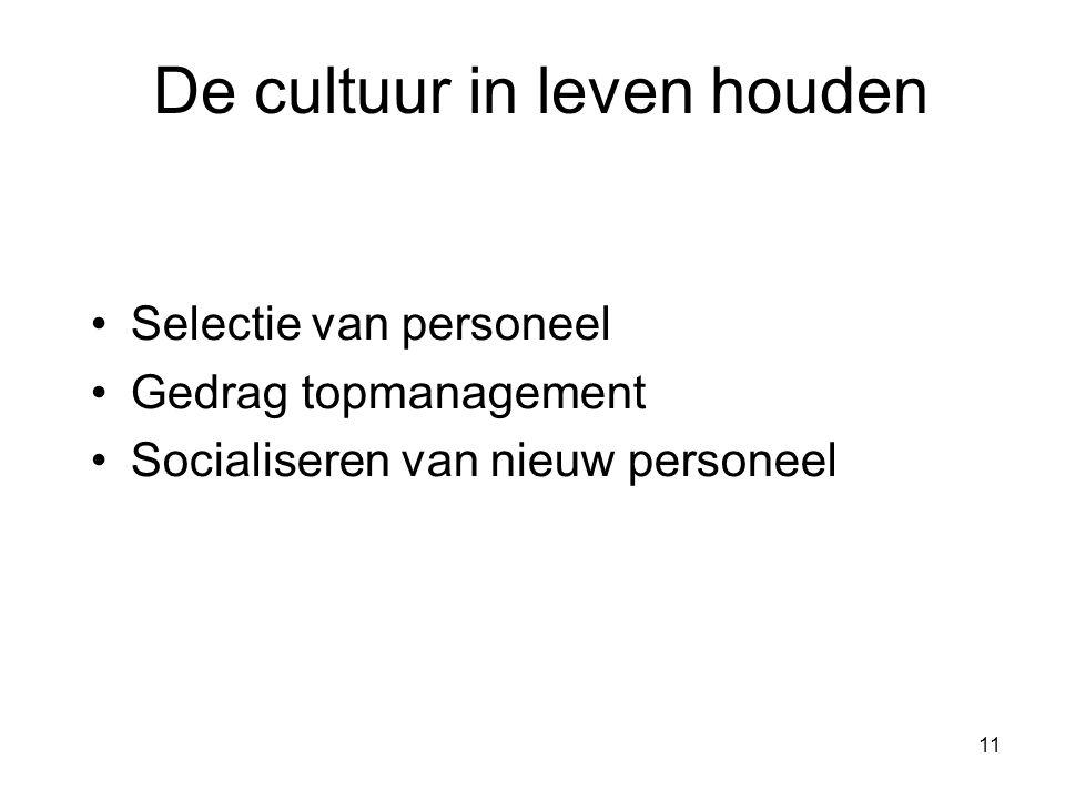 11 De cultuur in leven houden Selectie van personeel Gedrag topmanagement Socialiseren van nieuw personeel