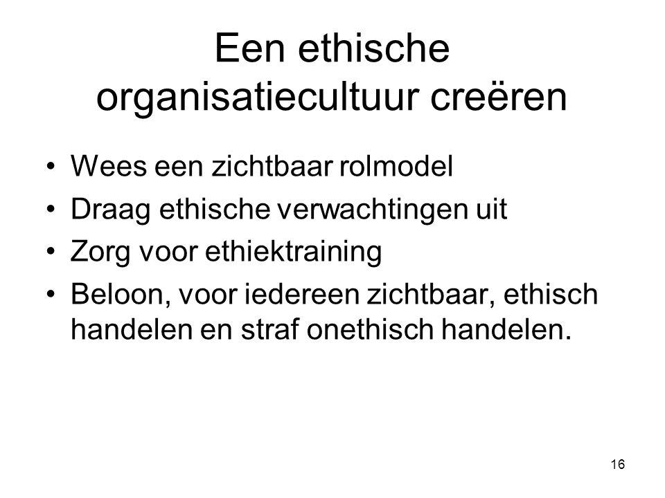 16 Een ethische organisatiecultuur creëren Wees een zichtbaar rolmodel Draag ethische verwachtingen uit Zorg voor ethiektraining Beloon, voor iedereen