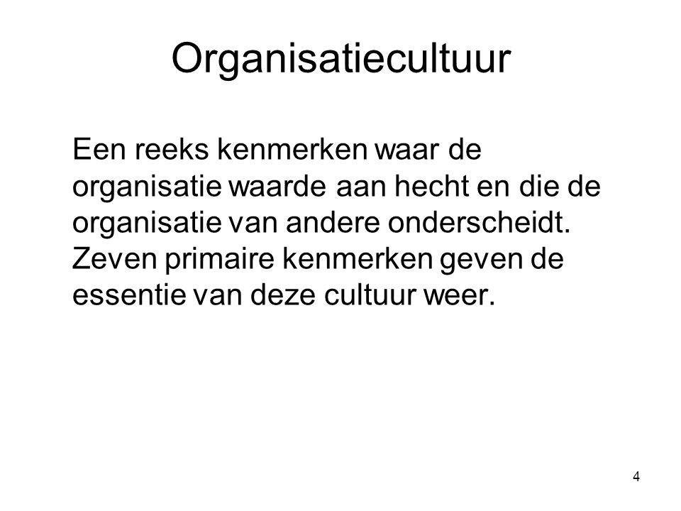 4 Organisatiecultuur Een reeks kenmerken waar de organisatie waarde aan hecht en die de organisatie van andere onderscheidt. Zeven primaire kenmerken
