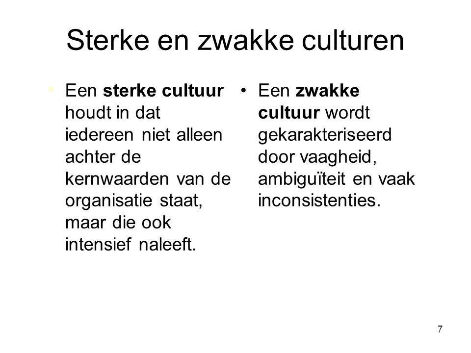7 Sterke en zwakke culturen Een zwakke cultuur wordt gekarakteriseerd door vaagheid, ambiguïteit en vaak inconsistenties. Een sterke cultuur houdt in