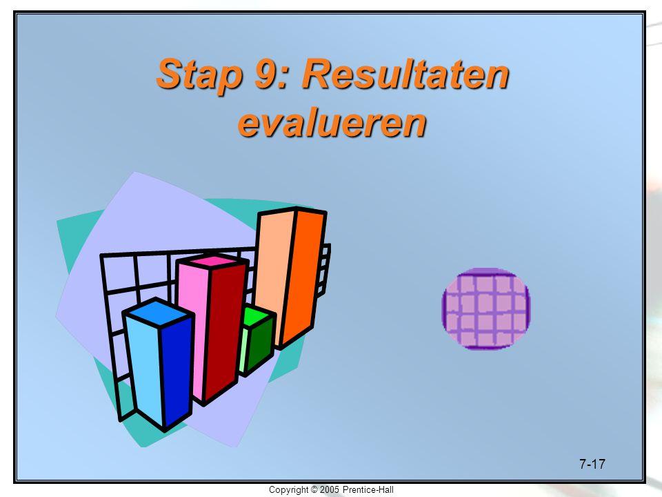 7-17 Copyright © 2005 Prentice-Hall Stap 9: Resultaten evalueren