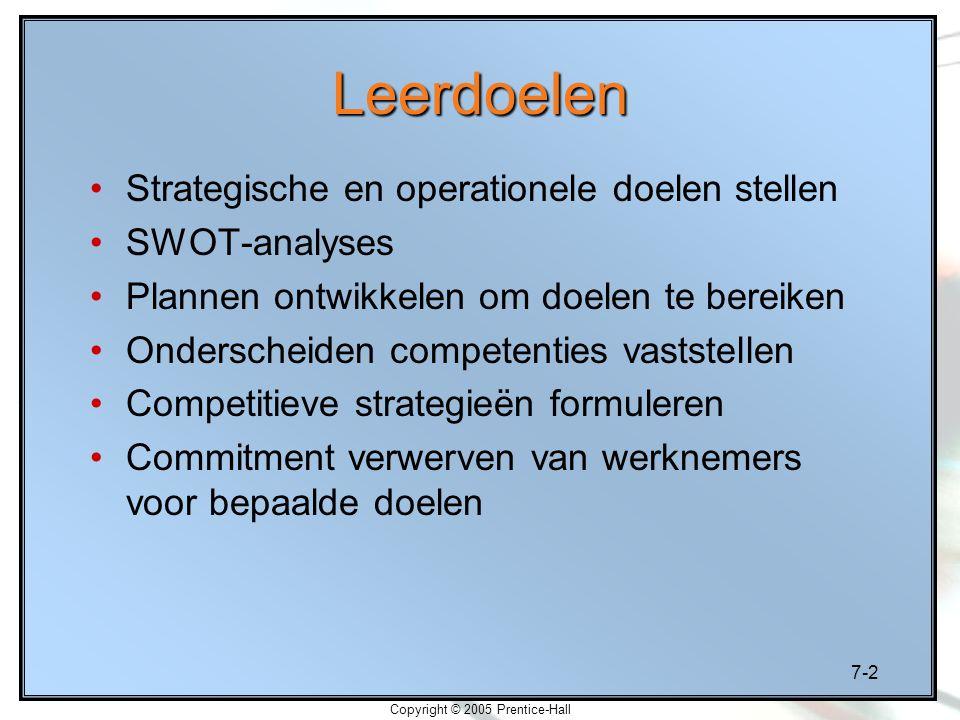 7-2 Copyright © 2005 Prentice-Hall Leerdoelen Strategische en operationele doelen stellen SWOT-analyses Plannen ontwikkelen om doelen te bereiken Onde