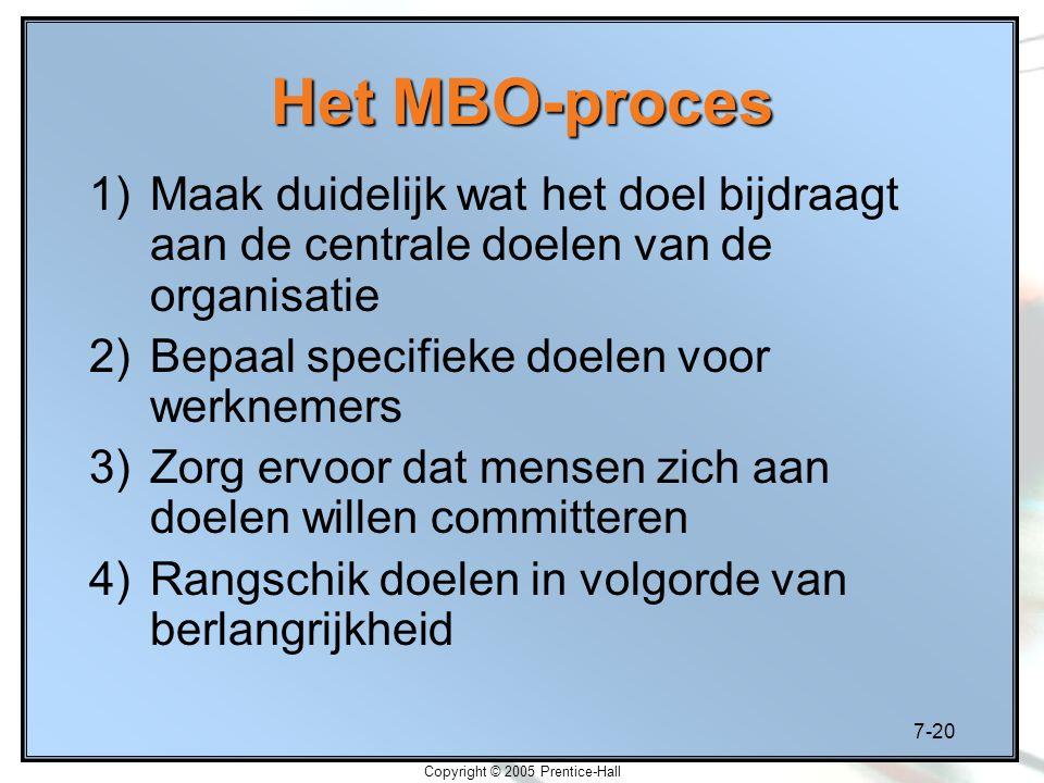 7-20 Copyright © 2005 Prentice-Hall Het MBO-proces 1)Maak duidelijk wat het doel bijdraagt aan de centrale doelen van de organisatie 2)Bepaal specifie