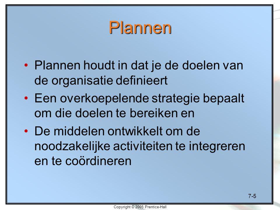 7-5 Copyright © 2005 Prentice-Hall Plannen Plannen houdt in dat je de doelen van de organisatie definieert Een overkoepelende strategie bepaalt om die doelen te bereiken en De middelen ontwikkelt om de noodzakelijke activiteiten te integreren en te coördineren