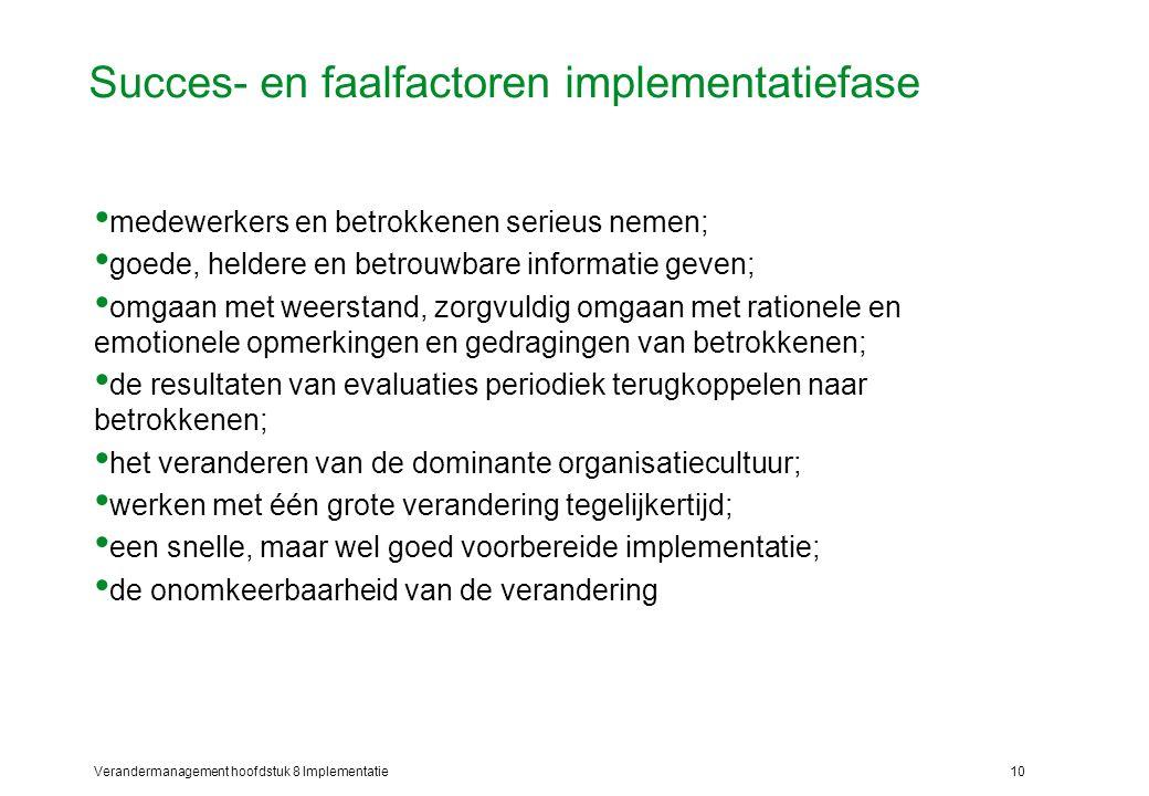 Verandermanagement hoofdstuk 8 Implementatie10 Succes- en faalfactoren implementatiefase medewerkers en betrokkenen serieus nemen; goede, heldere en b
