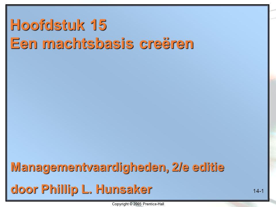 14-1 Copyright © 2005 Prentice-Hall Hoofdstuk 15 Een machtsbasis creëren Managementvaardigheden, 2/e editie door Phillip L. Hunsaker Copyright © 2005