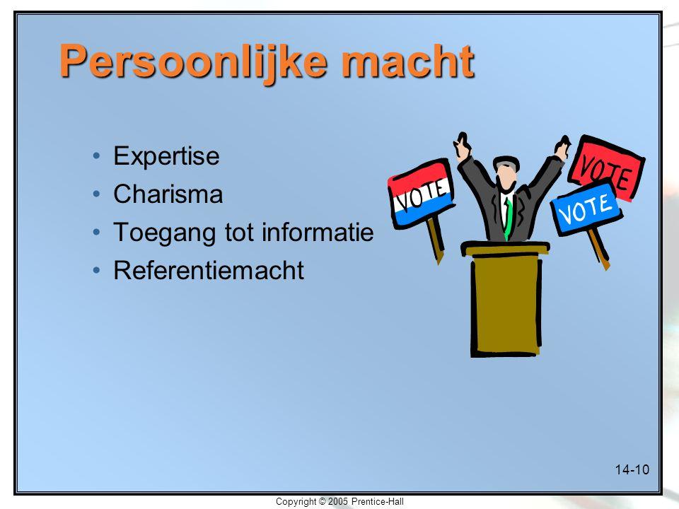 14-10 Copyright © 2005 Prentice-Hall Persoonlijke macht Expertise Charisma Toegang tot informatie Referentiemacht