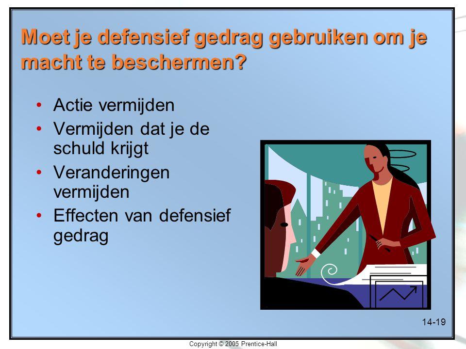 14-19 Copyright © 2005 Prentice-Hall Moet je defensief gedrag gebruiken om je macht te beschermen? Actie vermijden Vermijden dat je de schuld krijgt V