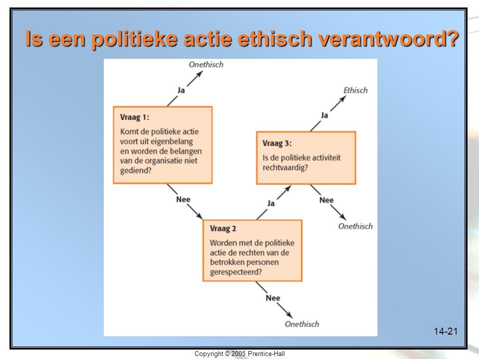 14-21 Copyright © 2005 Prentice-Hall Is een politieke actie ethisch verantwoord