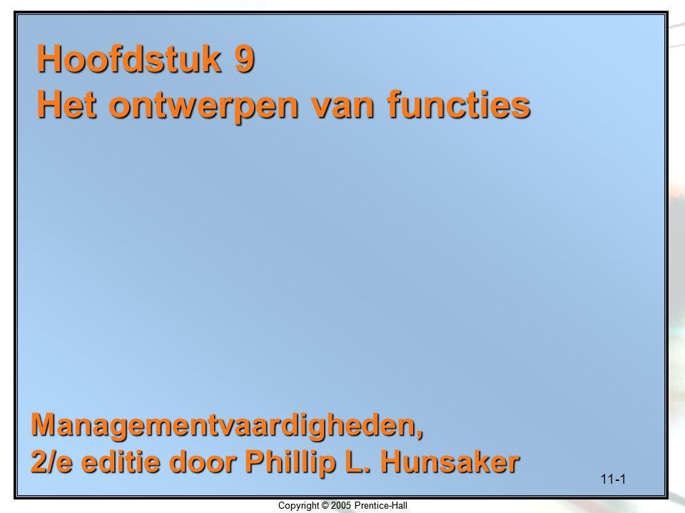 11-2 Copyright © 2005 Prentice-Hall Leerdoelen Functiekenmerken vaststellen Motivatietheorieën toepassen om bevredigende functies te creëren Functies zodanig ontwerpen dat werknemers optimaal presteren