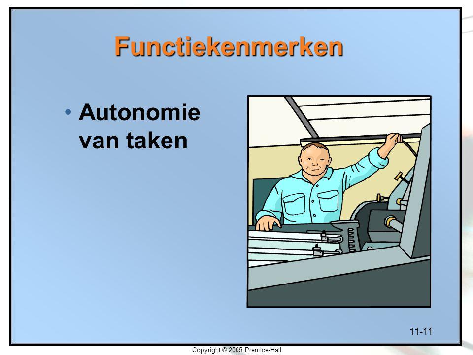 11-11 Copyright © 2005 Prentice-Hall Functiekenmerken Autonomie van taken