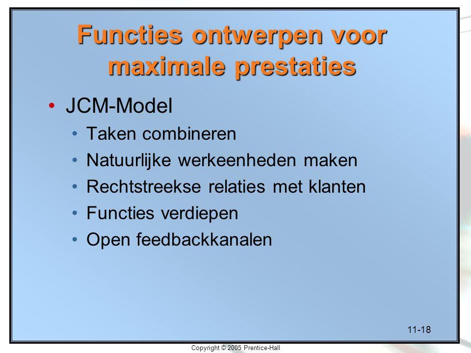 11-18 Copyright © 2005 Prentice-Hall Functies ontwerpen voor maximale prestaties JCM-Model Taken combineren Natuurlijke werkeenheden maken Rechtstreek