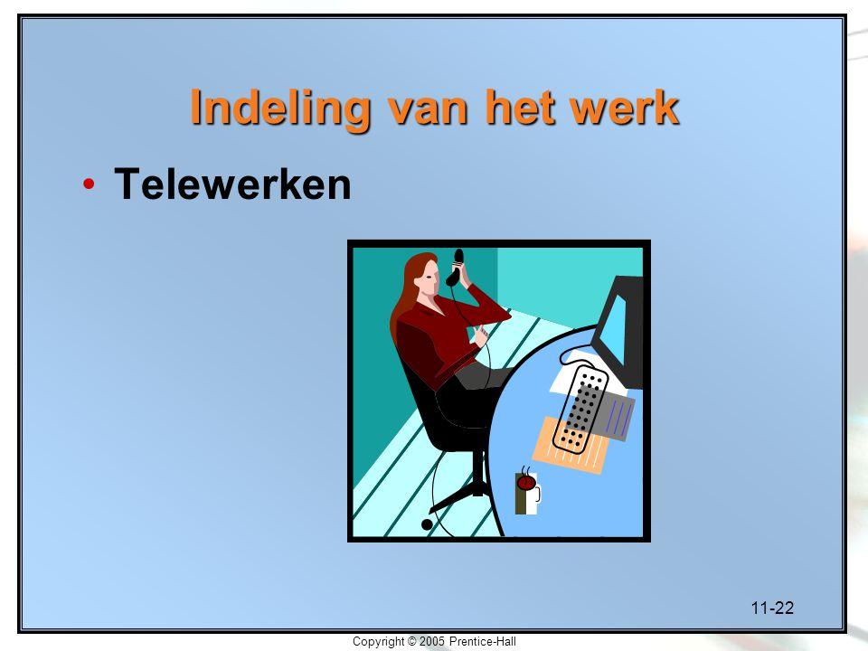 11-22 Copyright © 2005 Prentice-Hall Indeling van het werk Telewerken