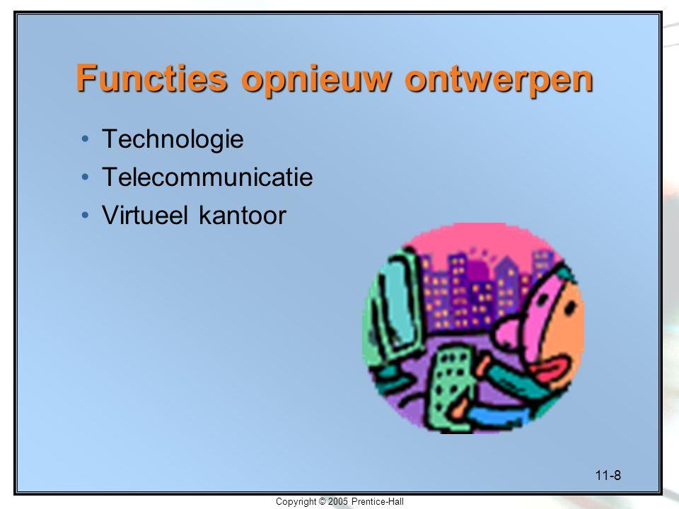 11-8 Copyright © 2005 Prentice-Hall Functies opnieuw ontwerpen Technologie Telecommunicatie Virtueel kantoor