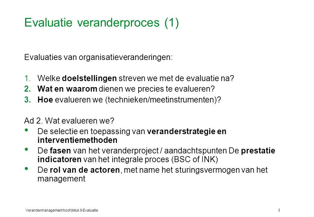 Verandermanagement hoofdstuk 9 Evaluatie3 Evaluatie veranderproces (1) Evaluaties van organisatieveranderingen: 1.Welke doelstellingen streven we met