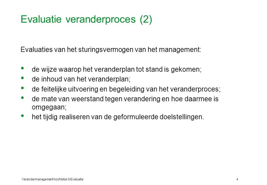 Verandermanagement hoofdstuk 9 Evaluatie4 Evaluatie veranderproces (2) Evaluaties van het sturingsvermogen van het management: de wijze waarop het ver