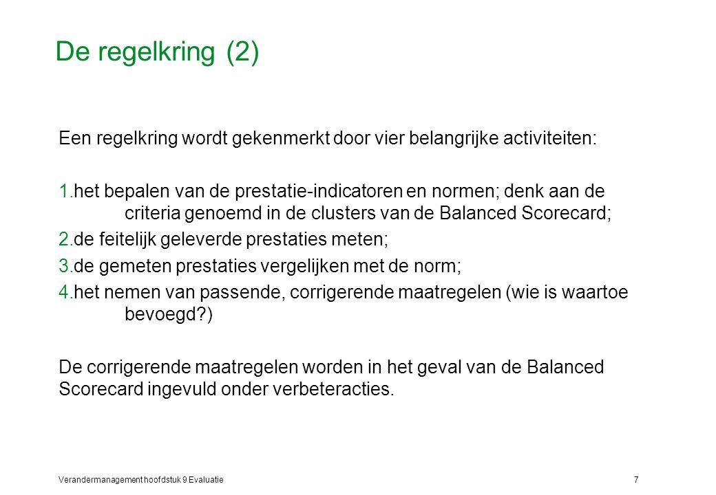 Verandermanagement hoofdstuk 9 Evaluatie7 De regelkring (2) Een regelkring wordt gekenmerkt door vier belangrijke activiteiten: 1.het bepalen van de p