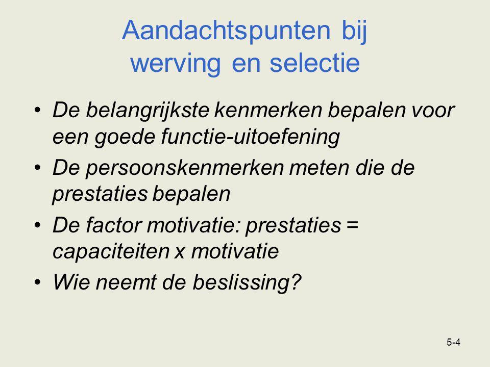 5-4 De belangrijkste kenmerken bepalen voor een goede functie-uitoefening De persoonskenmerken meten die de prestaties bepalen De factor motivatie: prestaties = capaciteiten x motivatie Wie neemt de beslissing.