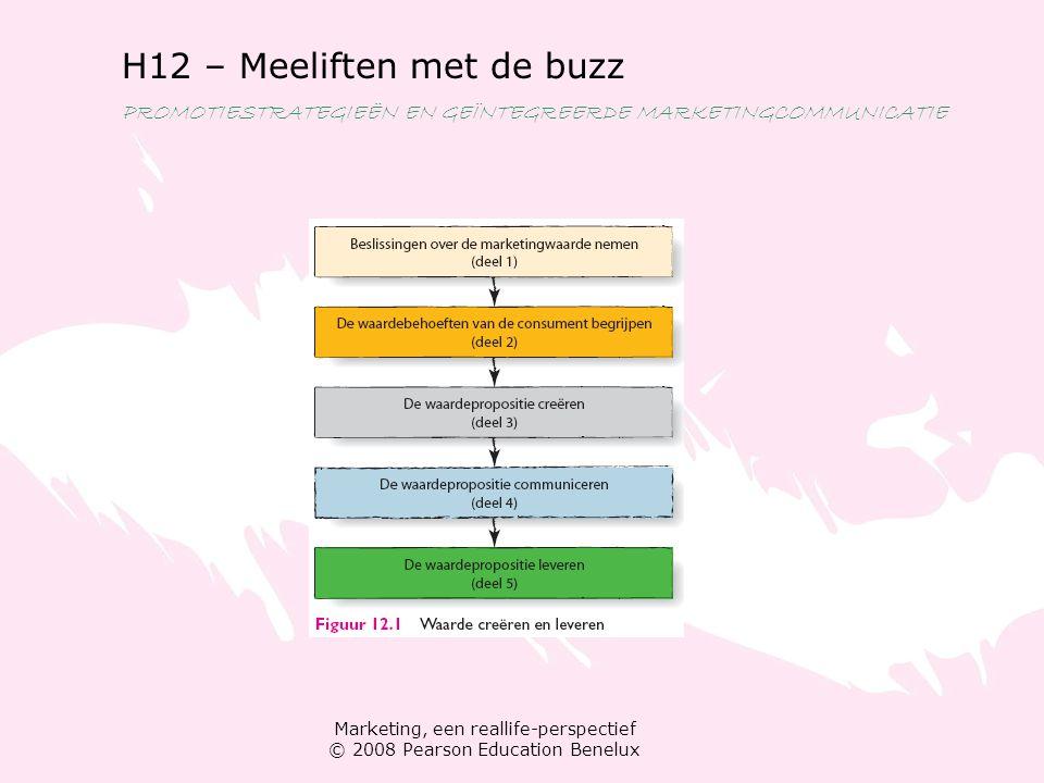 Marketing, een reallife-perspectief © 2008 Pearson Education Benelux H12 – Meeliften met de buzz PROMOTIESTRATEGIEËN EN GEÏNTEGREERDE MARKETINGCOMMUNI