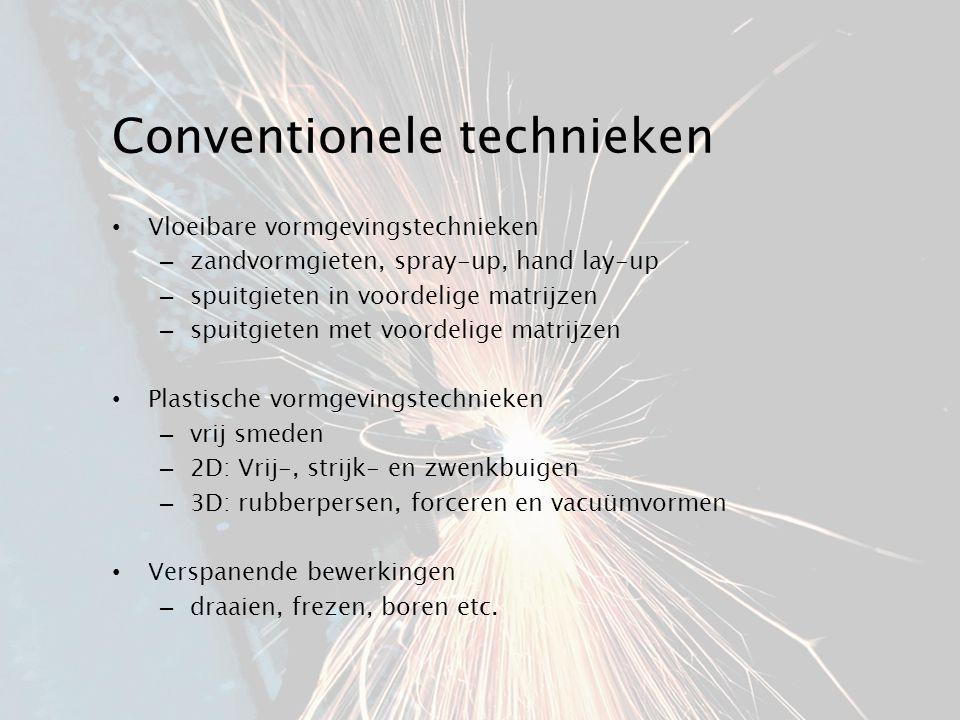 Conventionele technieken Vloeibare vormgevingstechnieken – zandvormgieten, spray-up, hand lay-up – spuitgieten in voordelige matrijzen – spuitgieten m