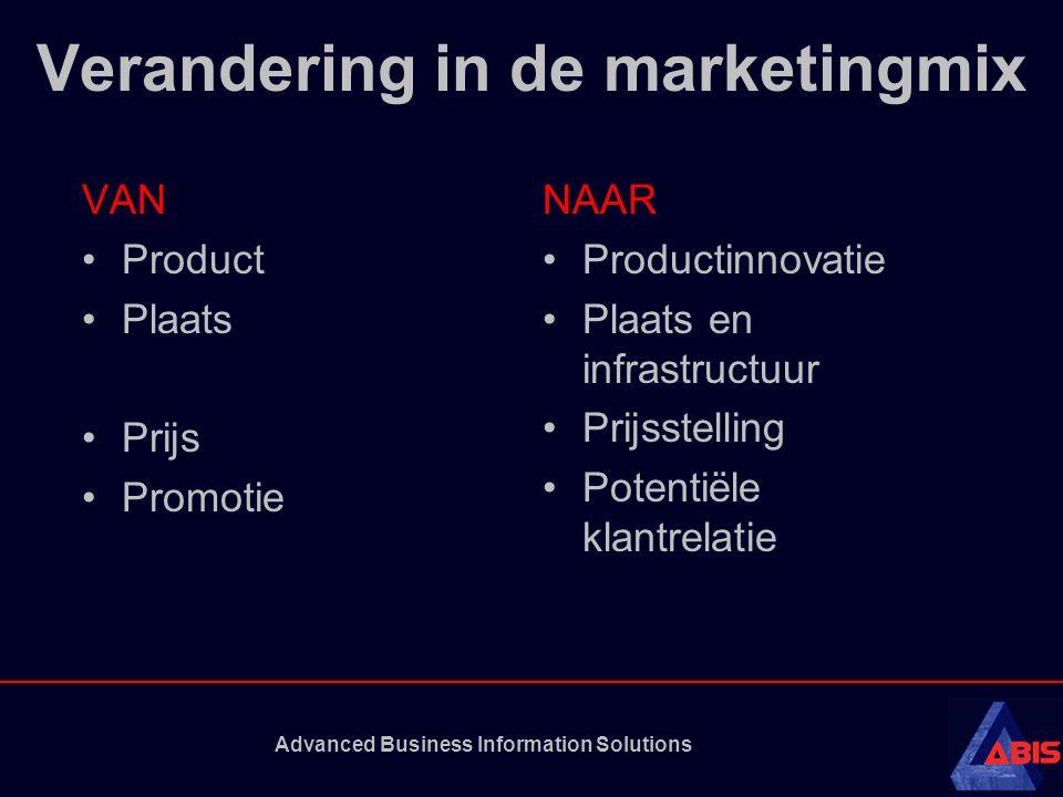 Advanced Business Information Solutions Verandering in de marketingmix VAN Product Plaats Prijs Promotie NAAR Productinnovatie Plaats en infrastructuur Prijsstelling Potentiële klantrelatie