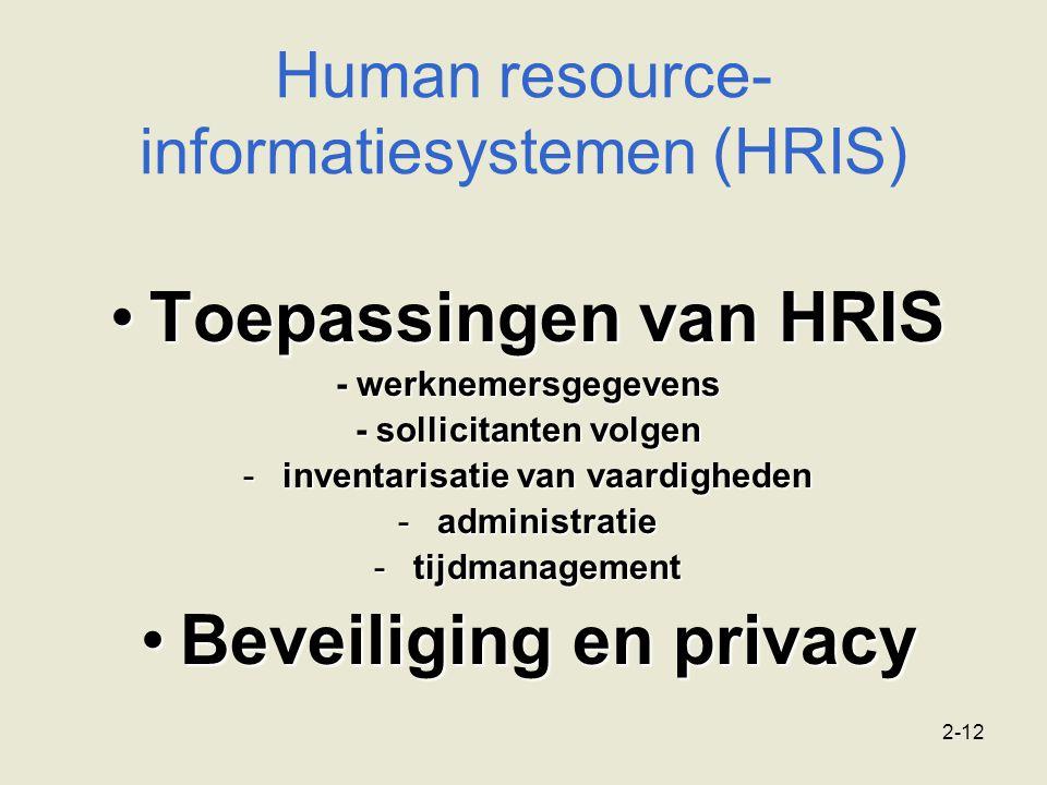 2-12 Human resource- informatiesystemen (HRIS) Toepassingen van HRISToepassingen van HRIS - werknemersgegevens - sollicitanten volgen -inventarisatie