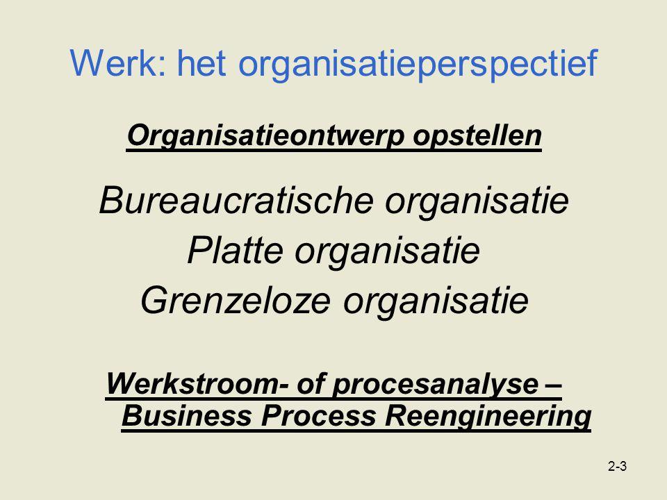 2-3 Organisatieontwerp opstellen Bureaucratische organisatie Platte organisatie Grenzeloze organisatie Werkstroom- of procesanalyse – Business Process