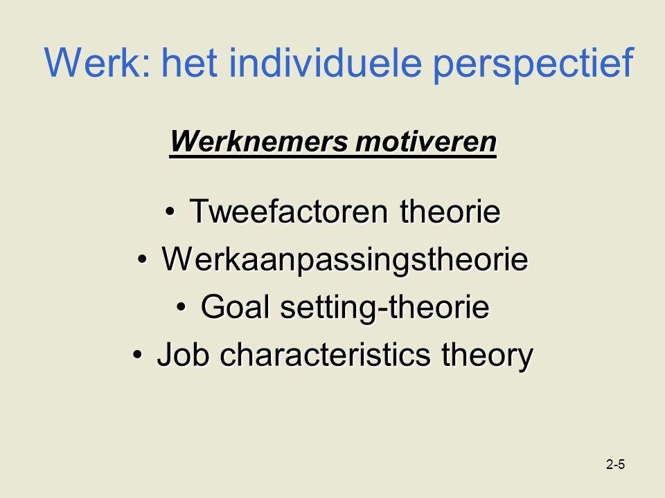 2-5 Werk: het individuele perspectief Werknemers motiveren Tweefactoren theorieTweefactoren theorie WerkaanpassingstheorieWerkaanpassingstheorie Goal