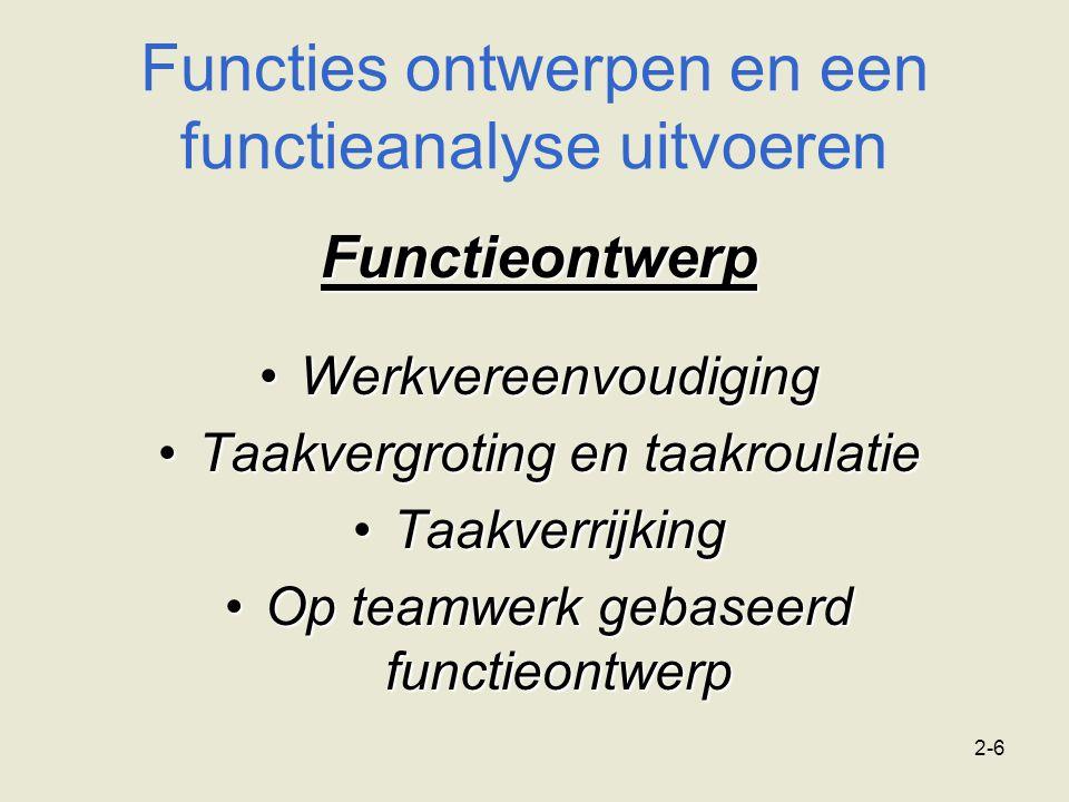 2-6 Functies ontwerpen en een functieanalyse uitvoeren Functieontwerp WerkvereenvoudigingWerkvereenvoudiging Taakvergroting en taakroulatieTaakvergrot