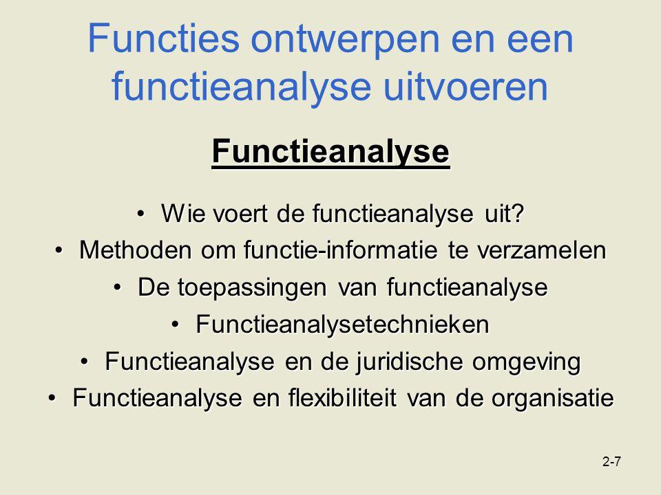 2-7 Functieanalyse Wie voert de functieanalyse uit?Wie voert de functieanalyse uit? Methoden om functie-informatie te verzamelenMethoden om functie-in