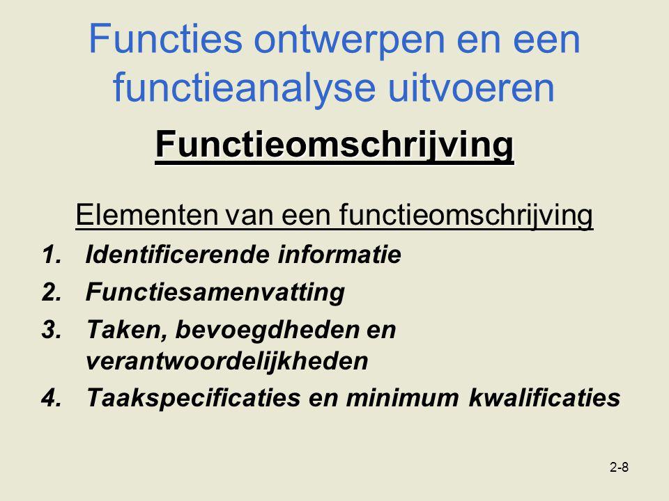 2-8 Functieomschrijving Elementen van een functieomschrijving 1.Identificerende informatie 2.Functiesamenvatting 3.Taken, bevoegdheden en verantwoorde