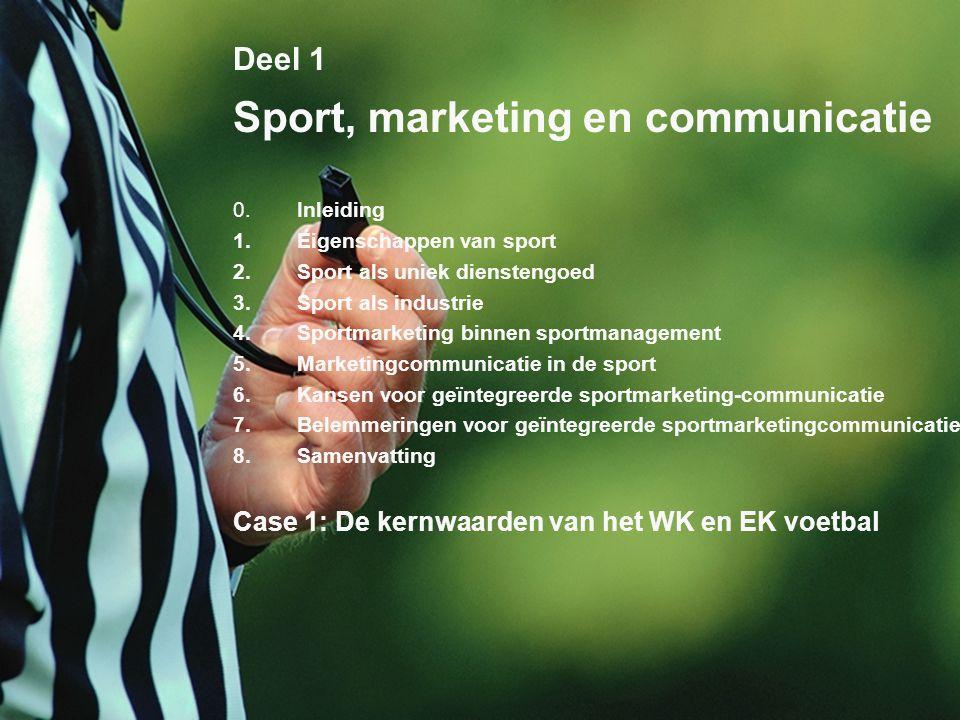 3 Deel 1 Sport, marketing en communicatie 0.Inleiding 1.Eigenschappen van sport 2.Sport als uniek dienstengoed 3.Sport als industrie 4.Sportmarketing