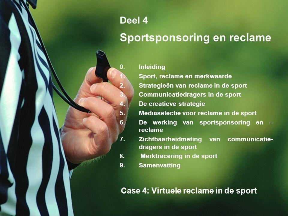 6 Deel 4 Sportsponsoring en reclame 0.Inleiding 1.Sport, reclame en merkwaarde 2.Strategieën van reclame in de sport 3.Communicatiedragers in de sport