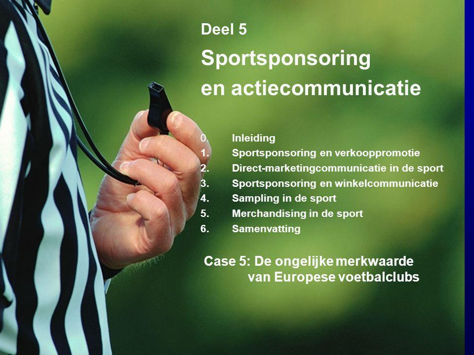 7 Deel 5 Sportsponsoring en actiecommunicatie 0.Inleiding 1.Sportsponsoring en verkooppromotie 2.Direct-marketingcommunicatie in de sport 3.Sportspons