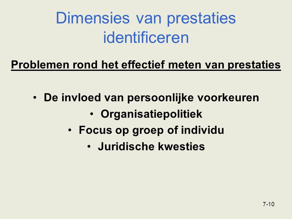 7-10 Problemen rond het effectief meten van prestaties De invloed van persoonlijke voorkeuren Organisatiepolitiek Focus op groep of individu Juridisch
