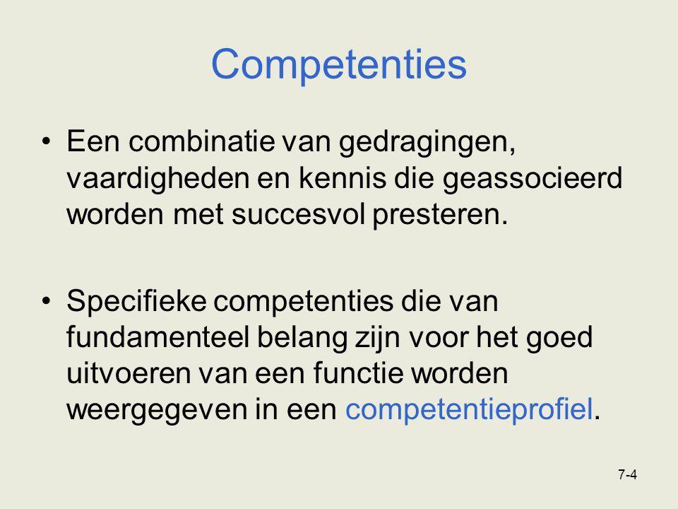 7-4 Competenties Een combinatie van gedragingen, vaardigheden en kennis die geassocieerd worden met succesvol presteren. Specifieke competenties die v