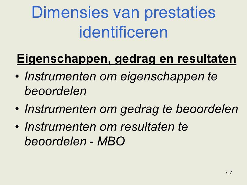 7-8 Dimensies van prestaties identificeren Wie beoordeelt er.