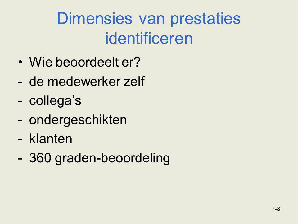 7-8 Dimensies van prestaties identificeren Wie beoordeelt er? -de medewerker zelf -collega's -ondergeschikten -klanten -360 graden-beoordeling