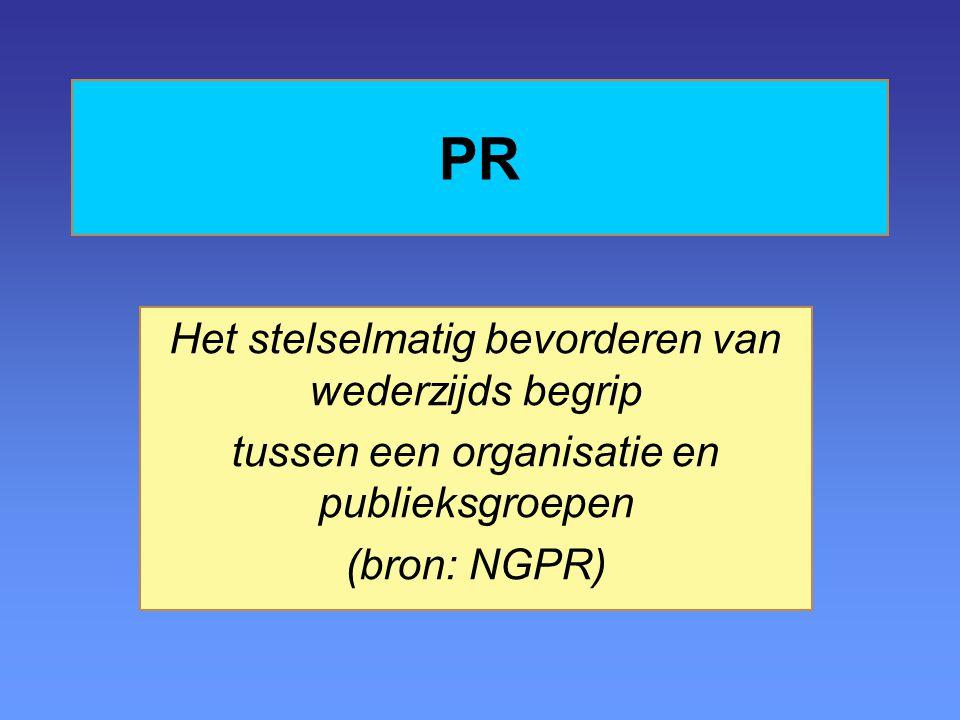 PR Het stelselmatig bevorderen van wederzijds begrip tussen een organisatie en publieksgroepen (bron: NGPR)