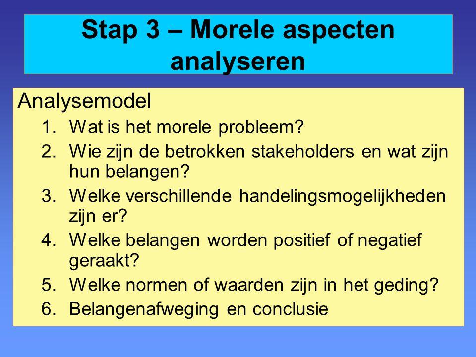 Stap 3 – Morele aspecten analyseren Analysemodel 1.Wat is het morele probleem? 2.Wie zijn de betrokken stakeholders en wat zijn hun belangen? 3.Welke