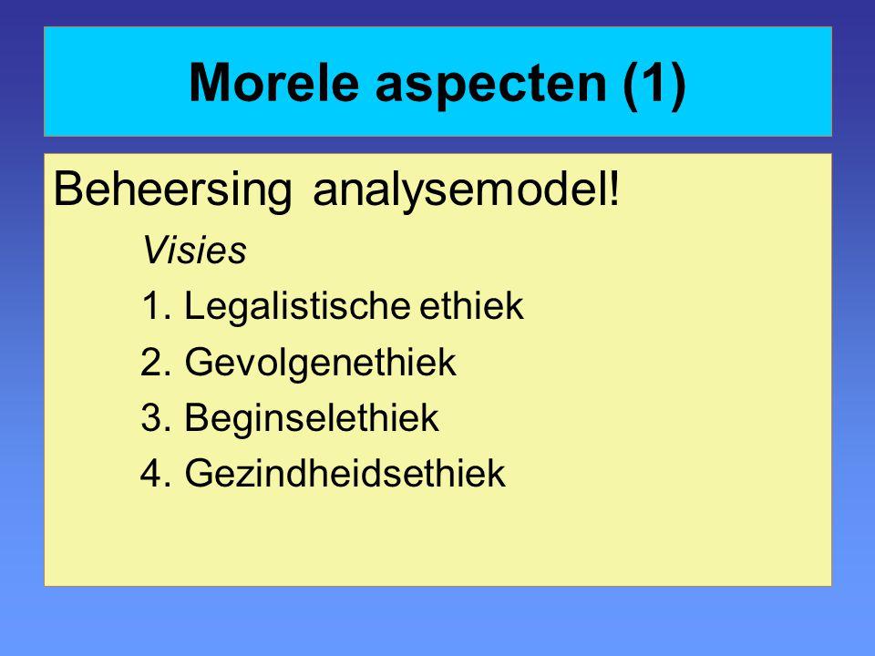 Morele aspecten (1) Beheersing analysemodel! Visies 1.Legalistische ethiek 2.Gevolgenethiek 3.Beginselethiek 4.Gezindheidsethiek