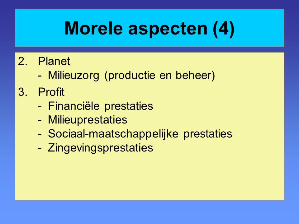 Morele aspecten (4) 2.Planet -Milieuzorg (productie en beheer) 3.Profit -Financiële prestaties -Milieuprestaties -Sociaal-maatschappelijke prestaties